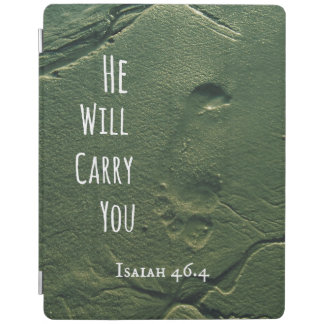 Bible Verse: He will Carry You with Footprints iPad Cover
