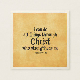 Bible Verse: I can do all things through Christ Paper Napkins
