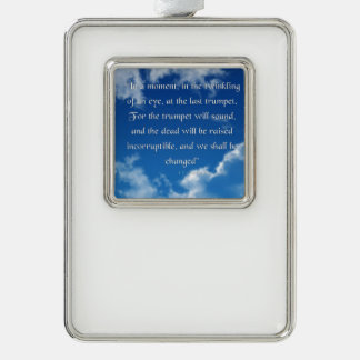 Bible Verse I Corinthians 15-52 Ornament Silver Plated Framed Ornament