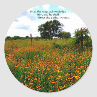 BIBLE VERSE In all thy ways acknowledge him Classic Round Sticker