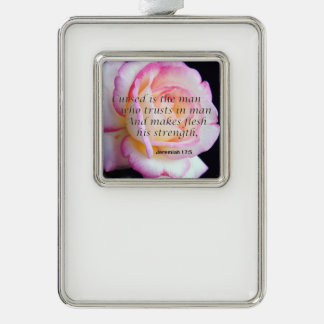Bible Verse Jeremiah 17-5 Flower Ornament Silver Plated Framed Ornament