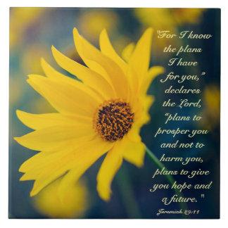 Bible Verse Jeremiah 29:11, Yellow Wildflower Ceramic Tile