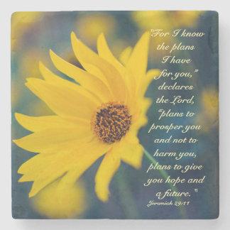 Bible Verse Jeremiah 29:11, Yellow Wildflower Stone Beverage Coaster