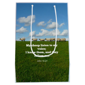 Bible verse, John 10:27, My sheep... Medium Gift Bag