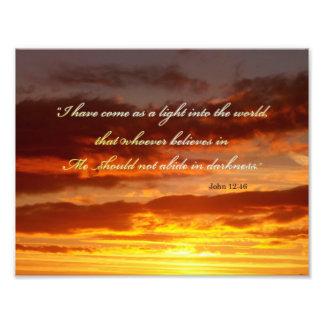 Bible Verse John 12 46 Over a Sky Photograph