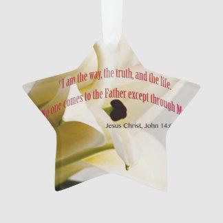 Bible Verse John 14-6 Over Flower Ornament