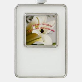 Bible Verse John 14-6 Over Flower Ornament Silver Plated Framed Ornament