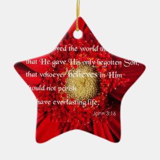 Bible Verse John 3:16 Over a Flower Ornament