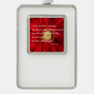 Bible Verse John 3:16 Over a Flower Ornament Silver Plated Framed Ornament