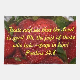 Bible Verse Kitchen Towel - Psalms 34:8