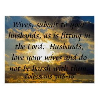 bible verse marriage reminder Colossians 3:18-19 Poster