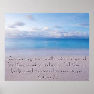 Bible verse Matthew 7:7 Beach Poster