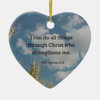 Bible Verse, Philippians 4:13 Ceramic Heart Decoration