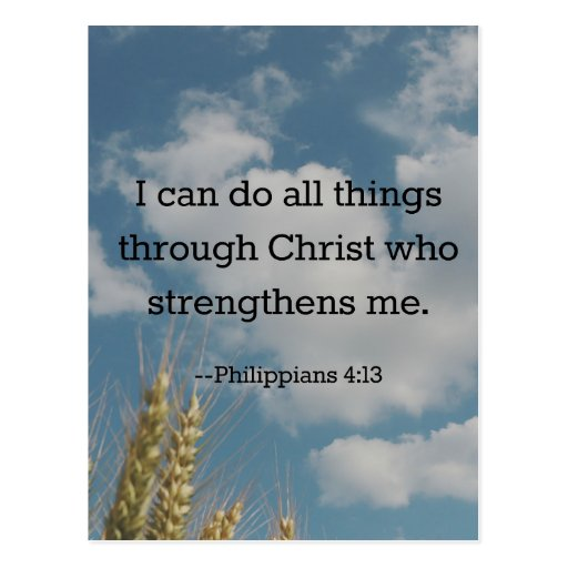Bible Verse, Philippians 4:13 Post Cards