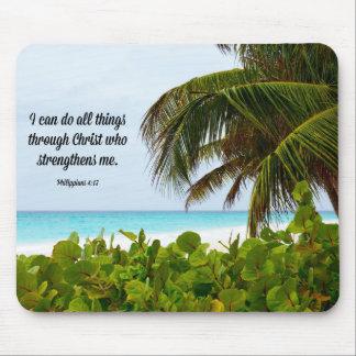 Bible Verse, Philippians 4:13, tropical Mouse Pad
