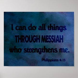 Bible Verse Philippians 4:13 Watercolor Poster