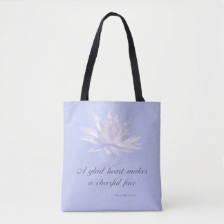 Bible Verse | Proverbs 15:13 | Lavender Floral Tote Bag