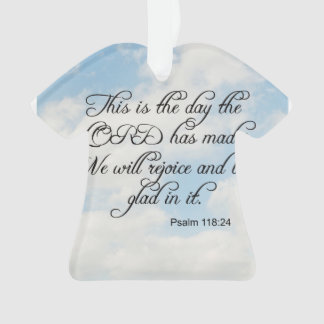 Bible Verse Psalm 118-24 Over Sky Ornament