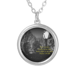 Bible Verse Psalm 119:105 Lamp to my feet... Silver Plated Necklace