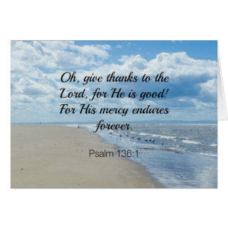 Bible verse, Psalm 136:1 Card