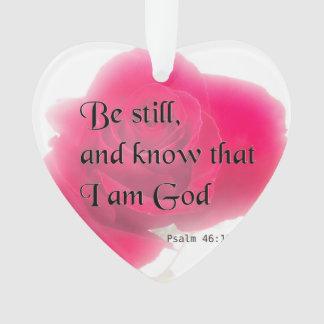 Bible Verse Psalm 46:10 Flower Ornament