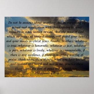 "bible verse reminder Philippians 4:6-9"" Posters"