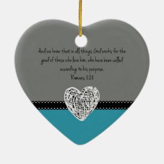 Bible Verse Romans 8:28 Retro Ceramic Heart Decoration