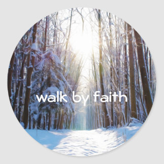 Bible Verse Walk by Faith Classic Round Sticker