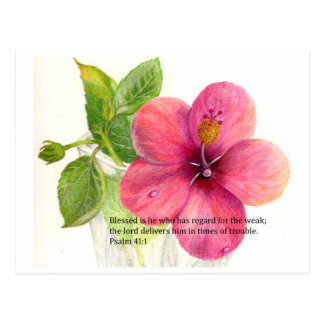 """Bible verse with a flower """"Hibiscus"""" Postcard"""