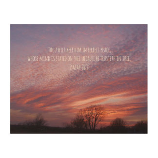 Bible Verse with Pink Oklahoma Sunset and Trees Wood Canvases