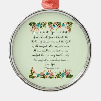 Bible Verses Art - 2 Corinthians 1:3-4 Round Metal Christmas Ornament