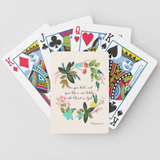 Bible Verses Art - Colossians 33:3 Bicycle Playing Cards