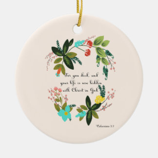 Bible Verses Art - Colossians 33:3 Double-Sided Ceramic Round Christmas Ornament