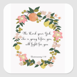 Bible Verses Art - Deuteronomy 1:30 Square Sticker