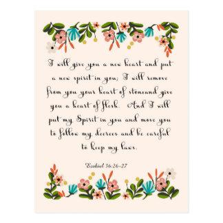 Bible Verses Art - Ezekiel 36:26-27 Postcard