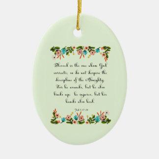 Bible Verses Art - Job 5: 17-18 Ceramic Oval Decoration