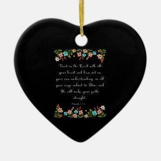 Bible Verses Art - Proverbs 3:5-6 Ceramic Heart Decoration