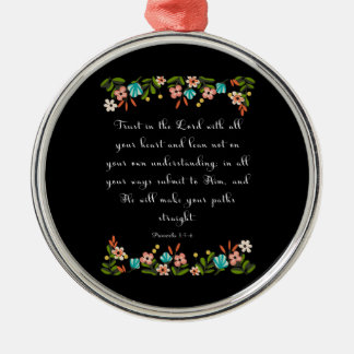 Bible Verses Art - Proverbs 3:5-6 Silver-Colored Round Decoration
