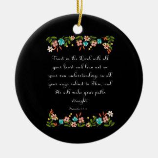 Bible Verses Art - Proverbs 3:5-6 Round Ceramic Decoration