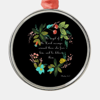 Bible Verses Art - Psalm 23:2 Silver-Colored Round Decoration