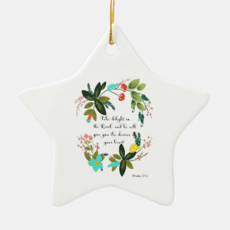 Bible Verses Art - Psalm 37:4 Double-Sided Star Ceramic Christmas Ornament