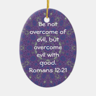 Bible Verses Love Quote Saying Romans 12:21 Ceramic Oval Decoration