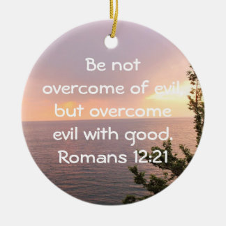 Bible Verses Love Quote Saying Romans 12:21 Christmas Ornaments