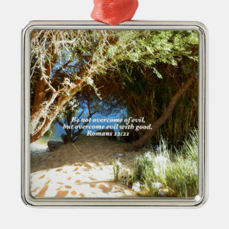 Bible Verses Love Quote Saying Romans 12:21 Silver-Colored Square Decoration