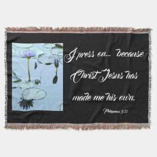 Bible Waterlily Flowers Press On Throw Blanket