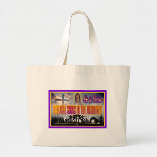 """Biblical Signs """"He is RISEN"""" Large Tote Bag"""
