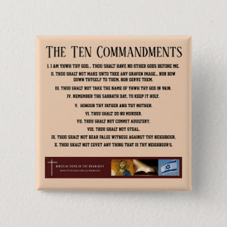 "Biblical Signs ITH ""Ten Commandments"" Button"