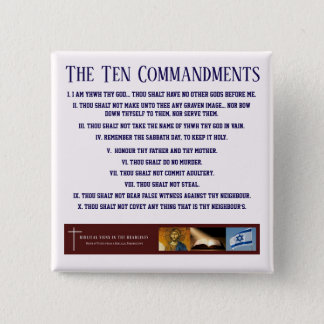 "Biblical Signs ""Ten Commandments"" Button (BLUE)"