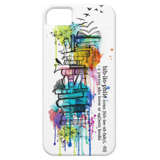 Bibliophile Watercolor Stack of Books iPhone 5 Cover