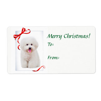 Bichon Christmas Gift Stickers Shipping Label